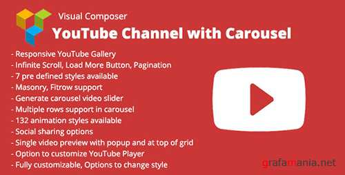 CodeCanyon - Visual Composer YouTube Channel with Carousel v1.1 - 12403303