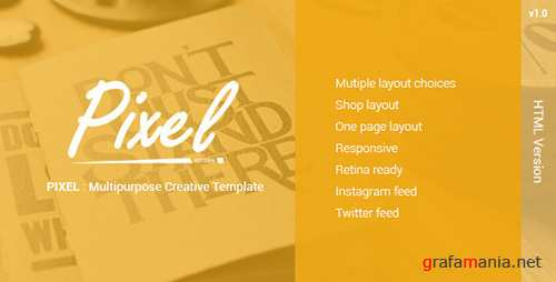 ThemeForest - PIXEL - Multipurposes Creative Template (Update: 20 May 17) - 10706414