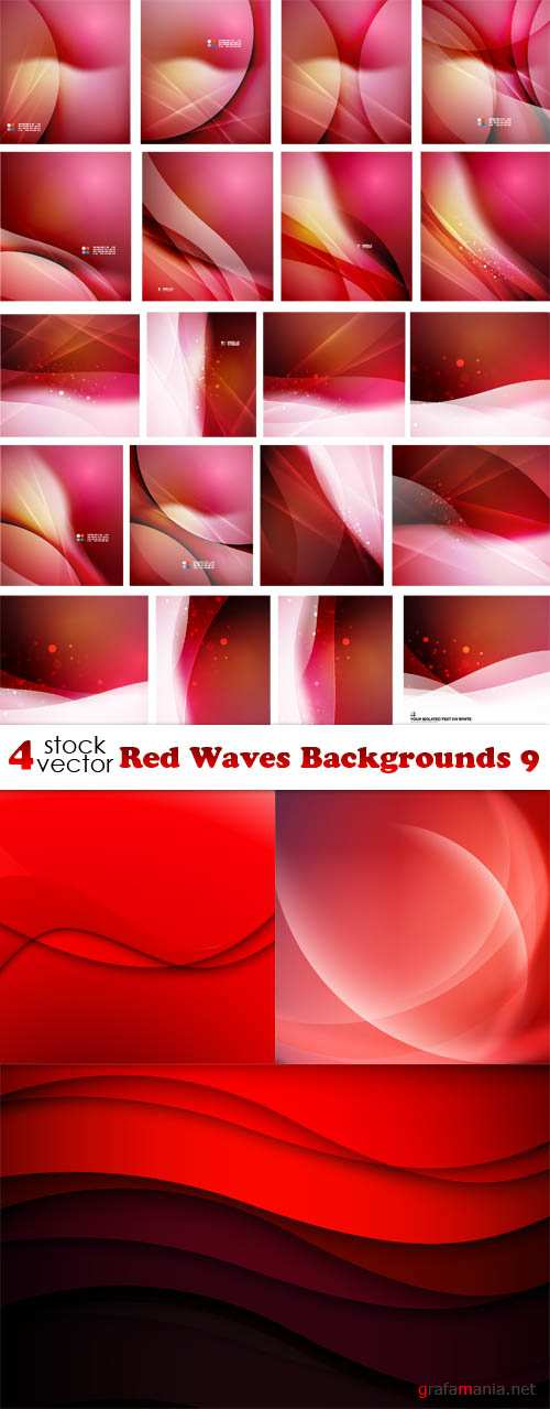 Vectors - Red Waves Backgrounds 9