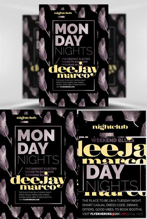 Monday Night Flyer Template - Feather Series