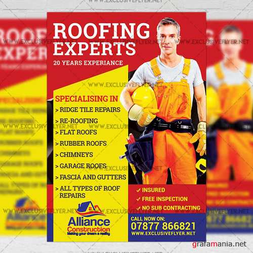 Premium A5 Flyer Template - Roofing Experts
