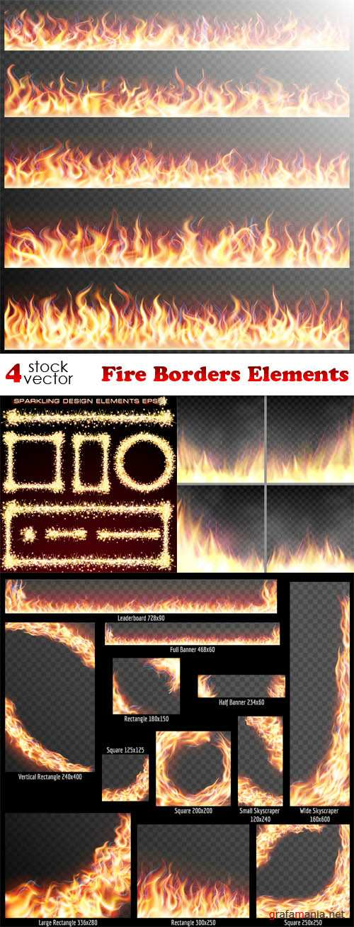 Vectors - Fire Borders Elements