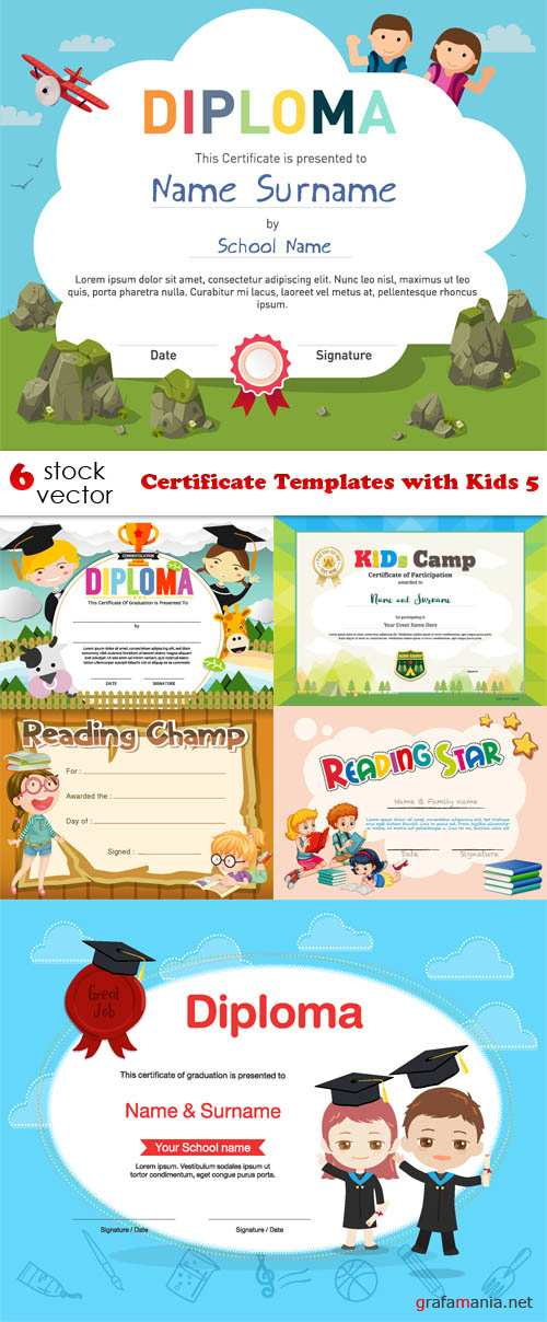 Vectors - Certificate Templates with Kids 5