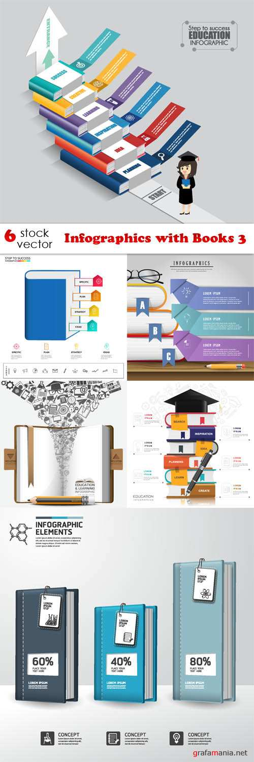 Vectors - Infographics with Books 3