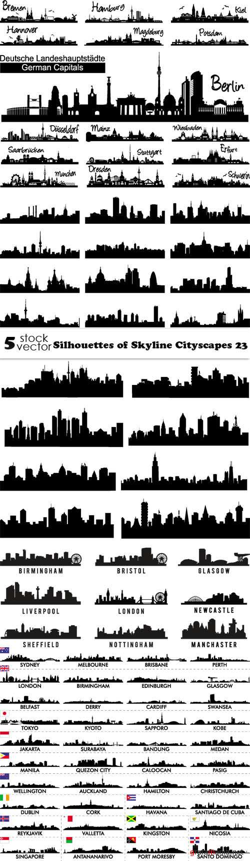 Vectors - Silhouettes of Skyline Cityscapes 23