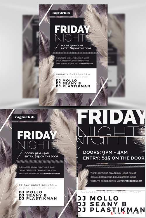 Friday Night Flyer Template - Feather Series