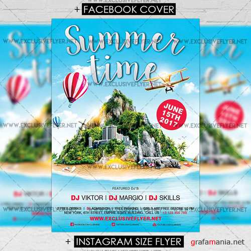 Premium A5 Flyer Template - Summer Time