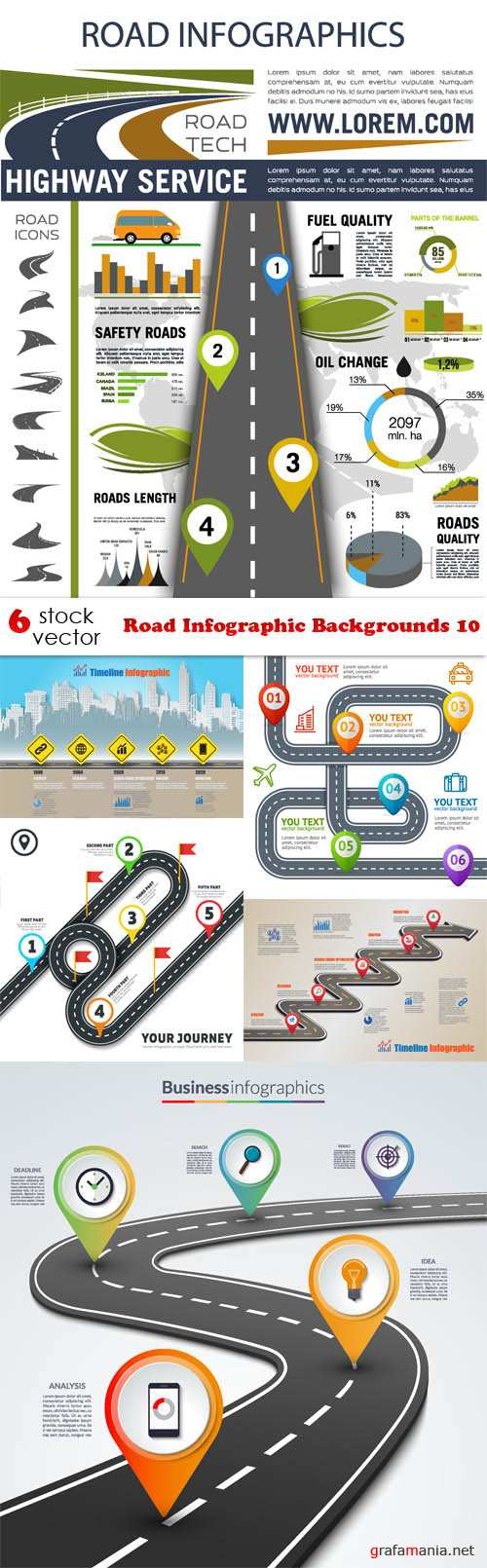 Vectors - Road Infographic Backgrounds 10