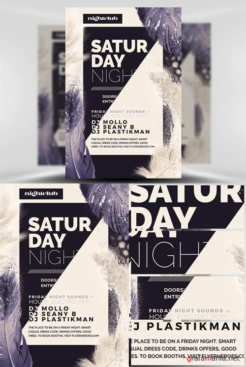 Saturday Night Flyer Template - Feather Series