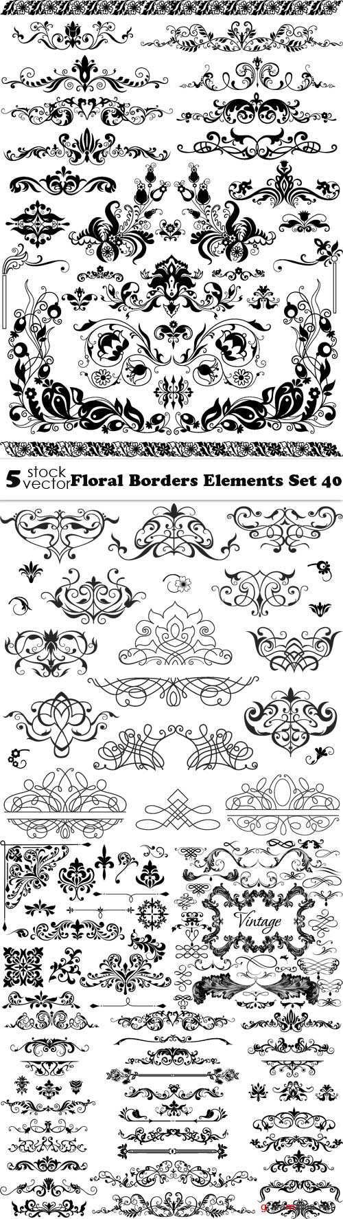 Vectors - Floral Borders Elements Set 40
