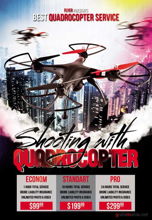 Premium A5 Flyer Template - Shooting with Quadrocopter