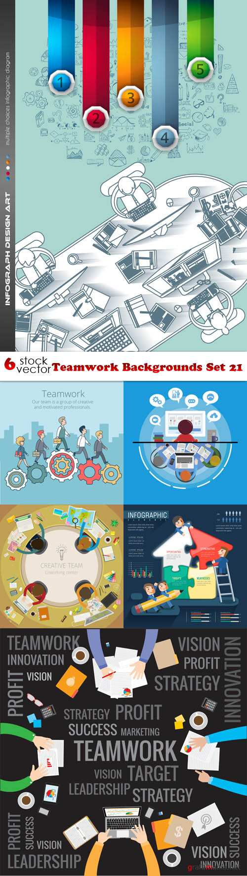 Vectors - Teamwork Backgrounds Set 21