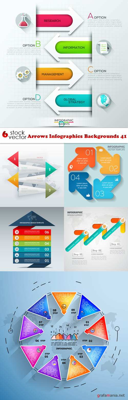 Vectors - Arrows Infographics Backgrounds 41