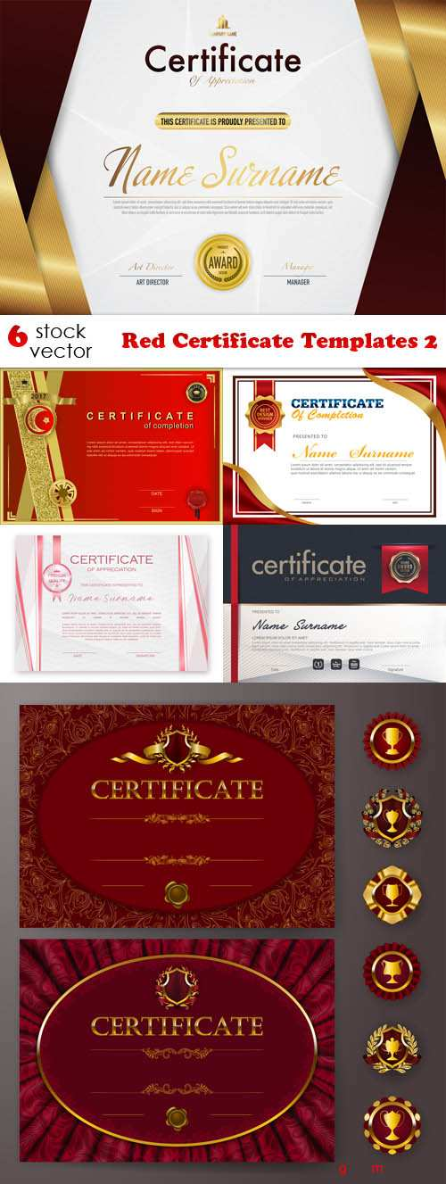 Vectors - Red Certificate Templates 2