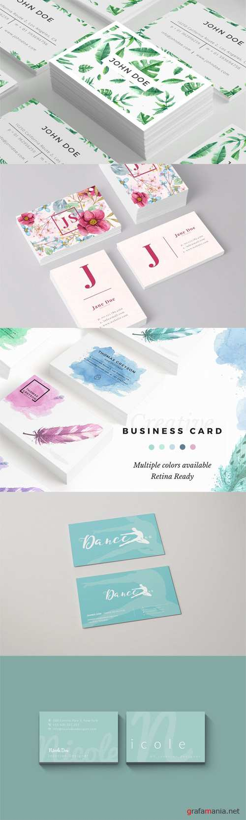5 Business Cards Set