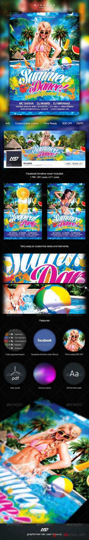 Summer Pool Party Flyer Template 5594539
