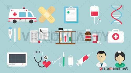 16 Medical Icons Pack Motion Graphic