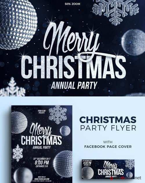 Christmas Party Flyer and Facebook Cover