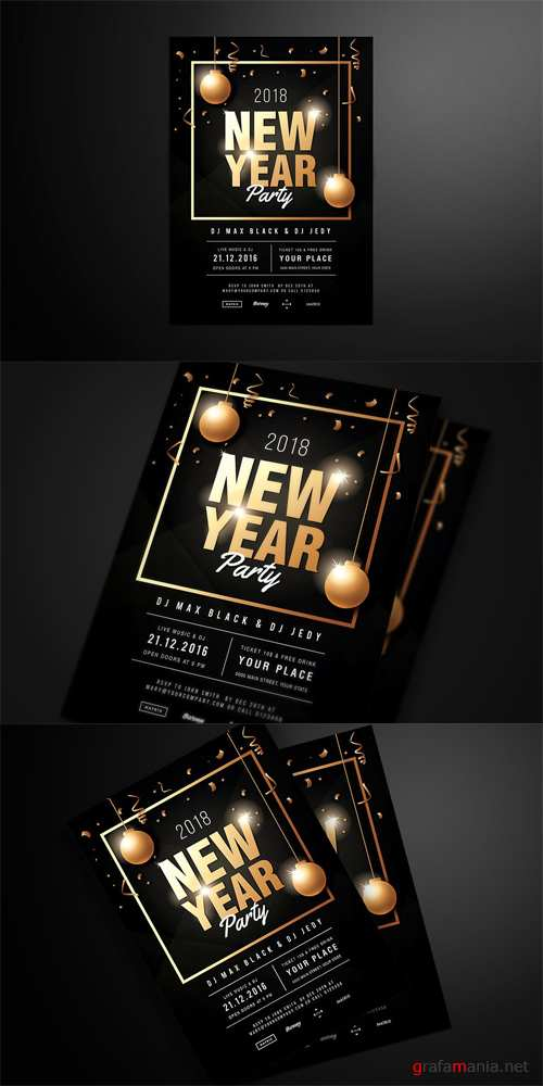 2018 New Year Party Flyer PSD