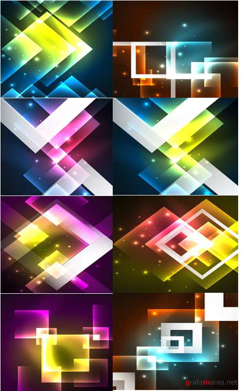 Bright abstract neon background decorative elements
