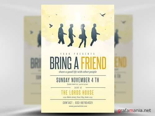 PSD Bring A Friend to Church Flyer Template