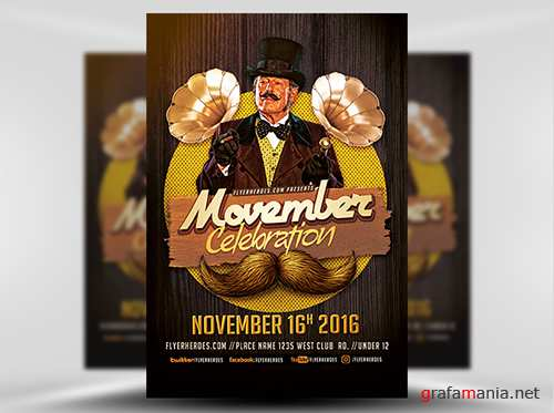 PSD Movember Celebration Flyer Template