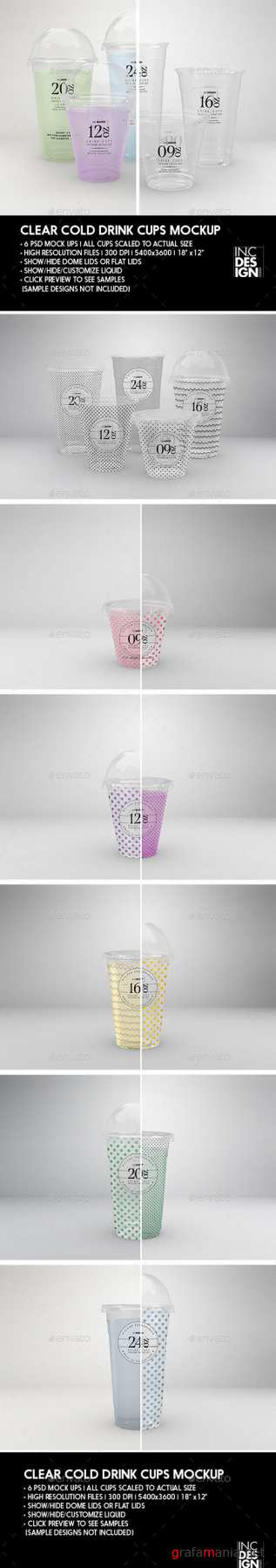 Clear Cold Drink Cups Packaging Mock Up 21324054