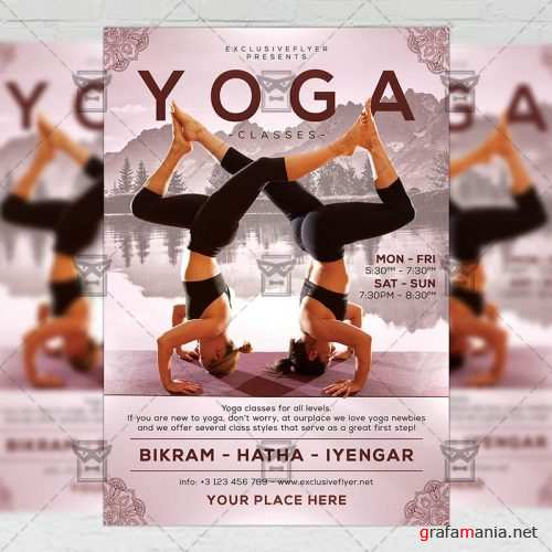 Exclusive Yoga Classes - Sport A5 Flyer Template