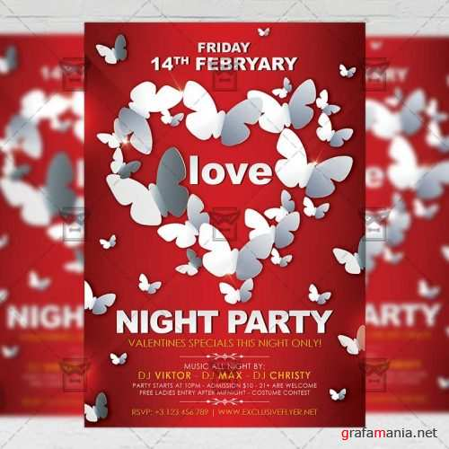 Seasonal A5 Flyer Template - Love Night Party