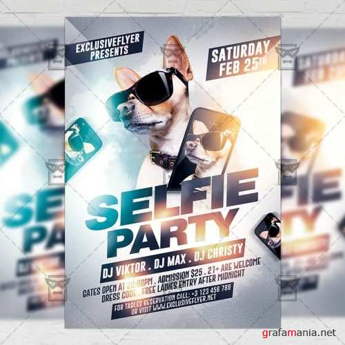 Club A5 Flyer Template - Selfie Party