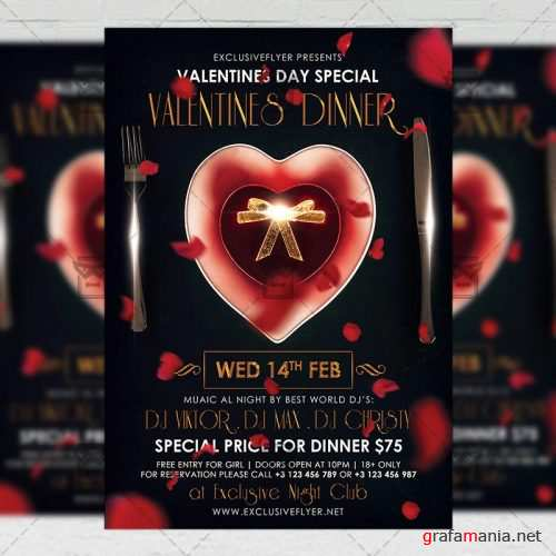 Seasonal A5 Flyer Template - Valentines Dinner