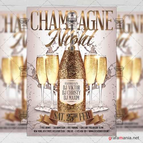 Club A5 Flyer Template - Champagne Night