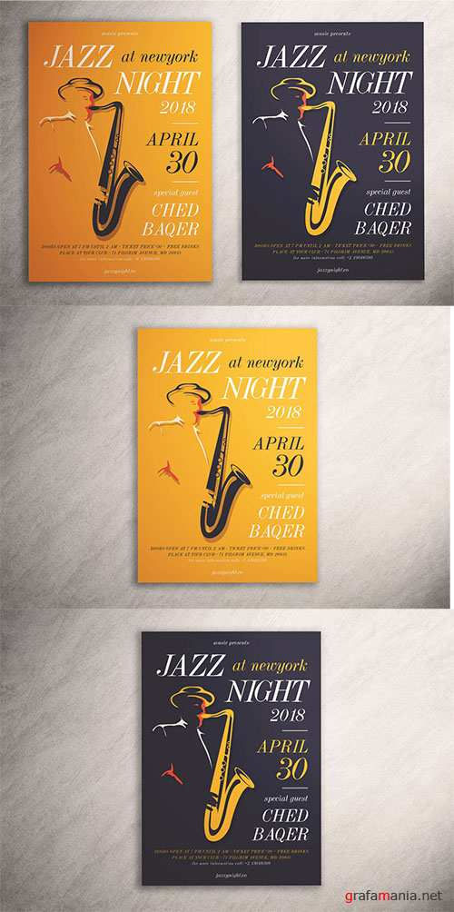 Jazz Night Flyer PSD