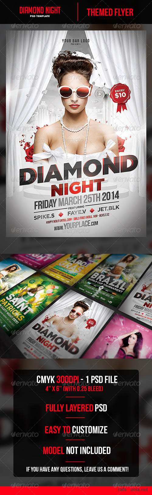 Diamond Night Flyer Template 6800627