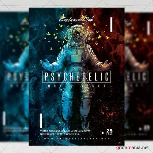 Club A5 Flyer Template - Psychedelic Music Night