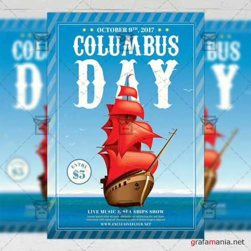 Seasonal A5 Flyer Template - Happy Columbus Day Celebration