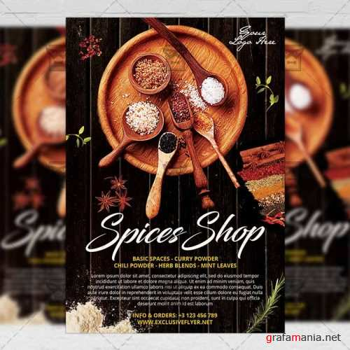 Food A5 Flyer Template - Spices Shop