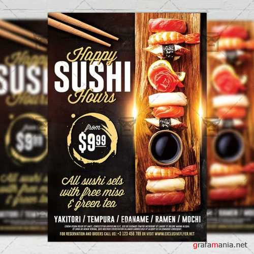 Food A5 Flyer Template - Sushi Happy Hours