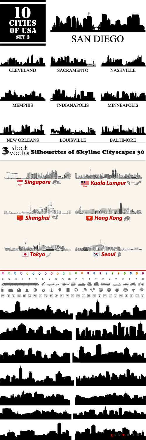 Векторный клипарт - Silhouettes of Skyline Cityscapes 30