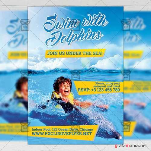 Premium A5 Flyer Template - Swim with Dolphins