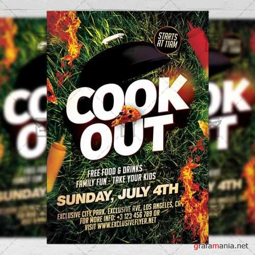 Premium A5 Flyer Template - Cook Out