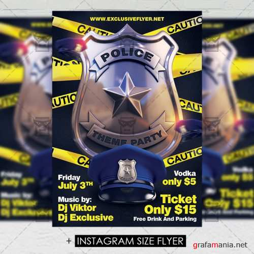 Police Theme Party – Premium A5 Flyer Template