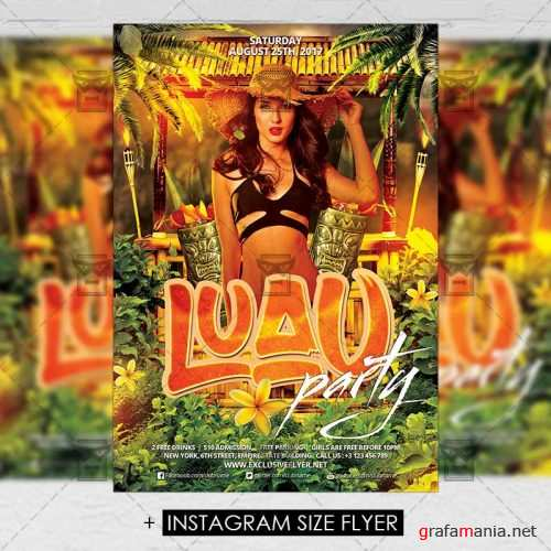 Premium A5 Flyer Template - Luau Party