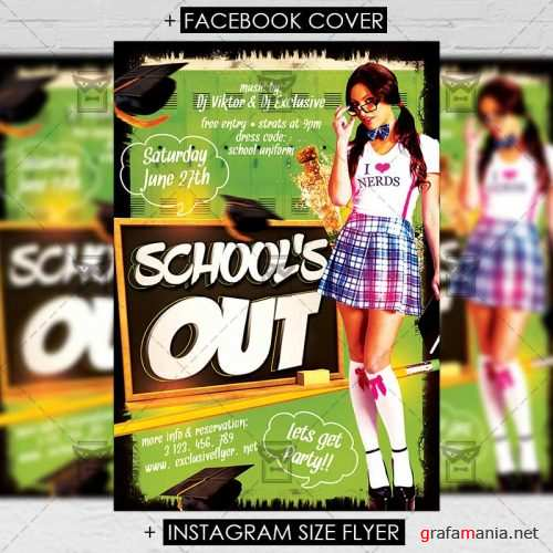 Premium A5 Flyer Template - School's Out Party