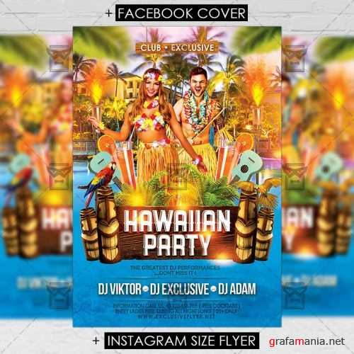 Premium A5 Flyer Template - Hawaiian Party