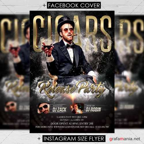 Premium A5 Flyer Template - Cigars Party