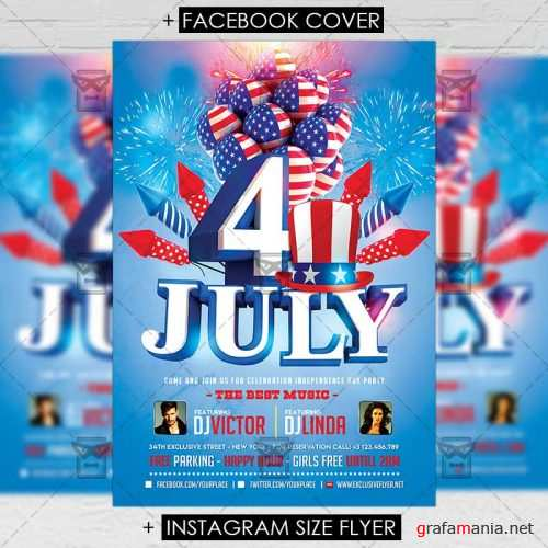 Premium A5 Flyer Template - 4th of July Celebration