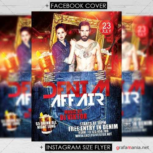 Premium A5 Flyer Template - Denim Affair