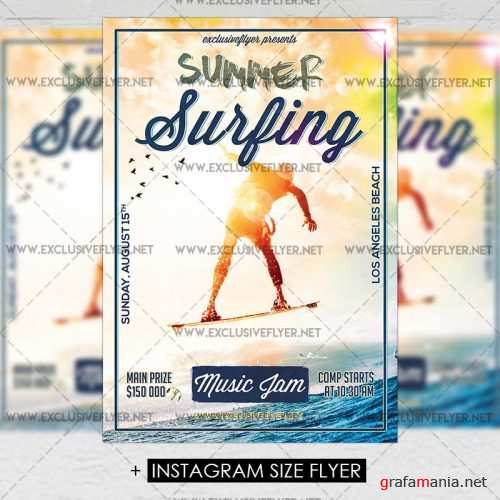 Premium A5 Flyer Template - Summer Surfing Competition