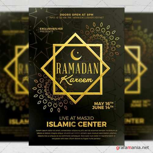 Seasonal A5 Flyer Template - Ramadan Kareem Iftaar Party